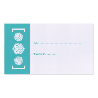 Aqua D20 Dice Gamer Wedding Place Card Double-Sided Standard Business Cards (Pack Of 100)
