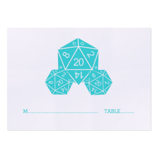 Aqua D20 Dice Wedding Place Card Pack Of Chubby Business Cards