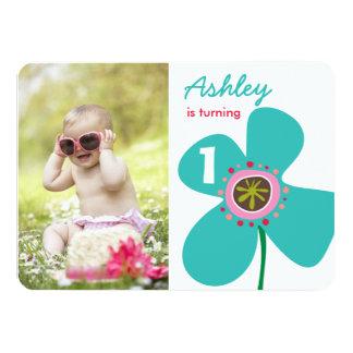 Aqua Daisy Pop Cute Girl Photo 1st Birthday Invite