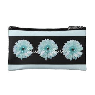 Aqua Daisy Sparkle Small Cosmetic Bag