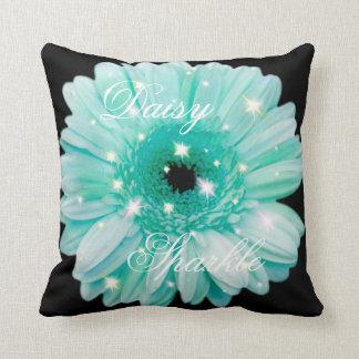 Aqua Daisy Sparkle Throw Pillow