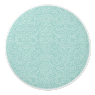 Aqua damask ceramic cabinet door knobs pulls.