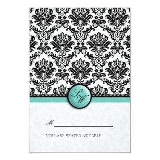 Aqua Damask Monogram Folding Tent  Place Card 9 Cm X 13 Cm Invitation Card