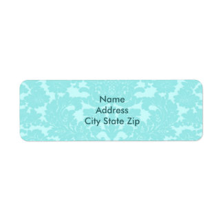 Aqua Damask Return Address Label