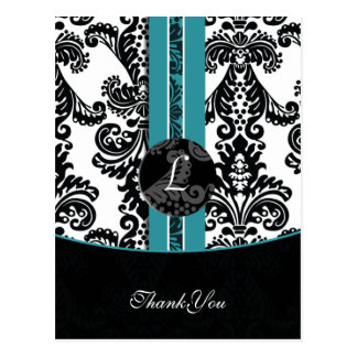 aqua damask ThankYou Cards Postcard