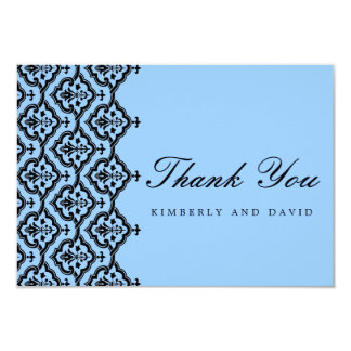 Aqua Damask Wedding Thank You Card Personalized Announcements