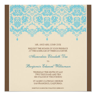 Aqua Darling Damask Lace Square Wedding Invitation