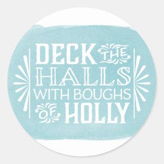 Aqua Deck the Halls | Watercolor Holiday Sticker