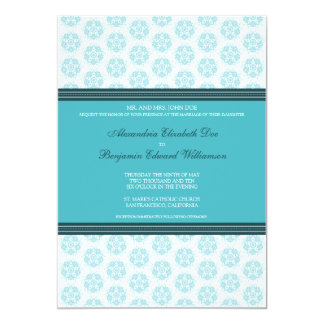 Aqua Decorative Stamp Formal Wedding Invitation