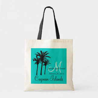 Aqua Destination Wedding Tote Bag Palm Trees