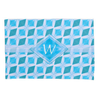 Aqua Diamond Pattern Custom Monogram Pillowcase
