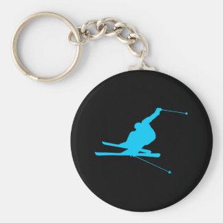 Aqua Downhill Skier Basic Round Button Key Ring