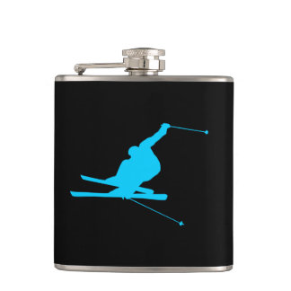 Aqua Downhill Skier Hip Flask