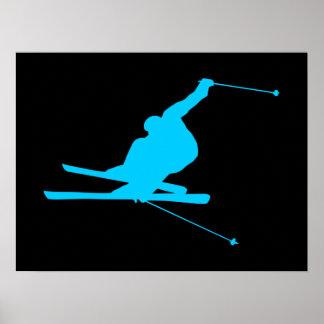 Aqua Downhill Skier Poster