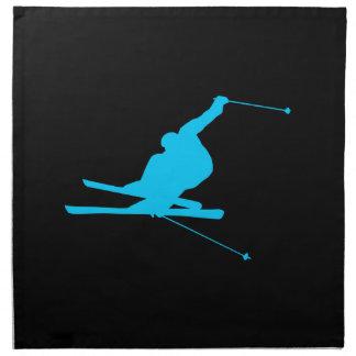 Aqua Downhill Skier Printed Napkins
