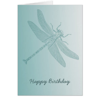 aqua dragonfly chic white stylish card