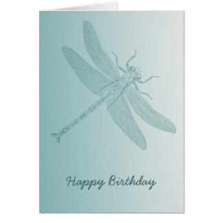 aqua dragonfly chic white stylish greeting card
