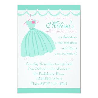Aqua dress and festooning 13 cm x 18 cm invitation card