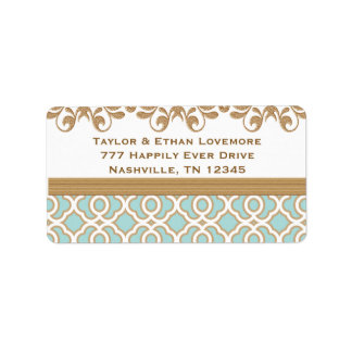 Aqua Eggshell Blue Gold Return Address Labels