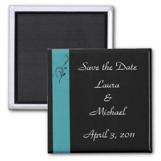 Aqua Elegance Wedding Square Magnet