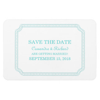 Aqua Encircled Ticket Save the Date Magnet