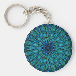 Aqua Explosion Kaleidoscope Key Ring