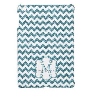 Aqua Faux Glitter Chevron with Girly Monogram Cover For The iPad Mini