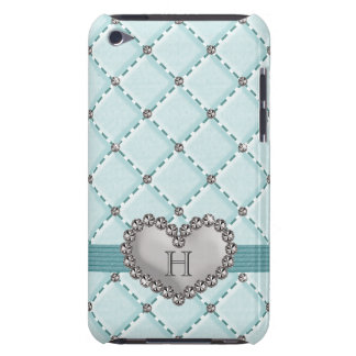 Aqua Faux Quilted Diamond Heart iPod Touch 4g Case Barely There iPod Covers