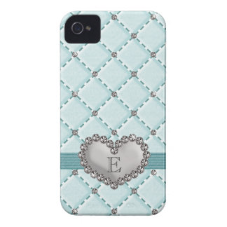 Aqua Faux Quilted Rhinestone Heart iPhone 4 Case-M iPhone 4 Cases