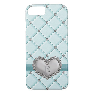 Aqua Faux Quilted Rhinestone Heart iPhone 7 Case