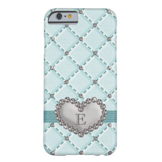 Aqua Faux Quilted Rhinestone Heart iPhone 6 Case