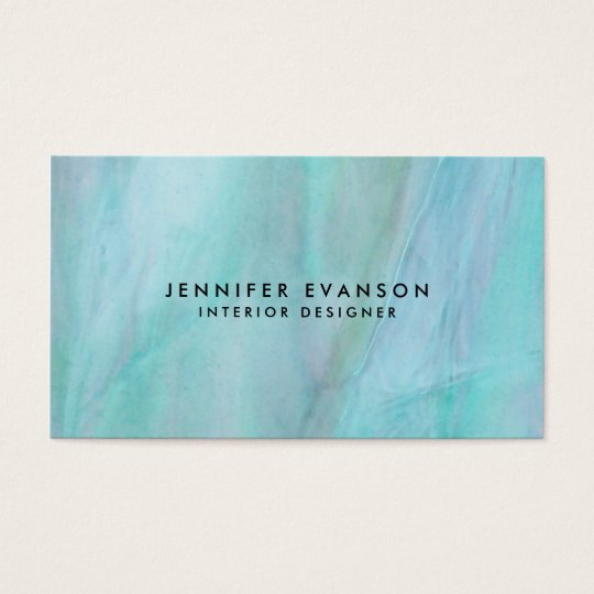 Aqua Faux Stained Glass Watercolor Pattern Business Card