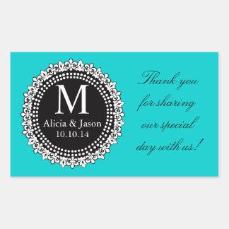 Aqua Fleur de Lis Wedding Favor Sticker