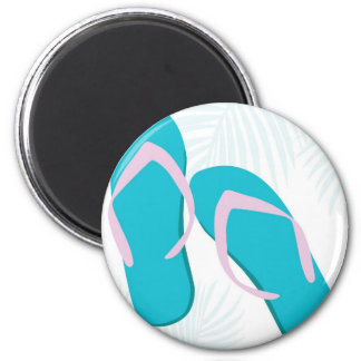 aqua flip flops 6 cm round magnet