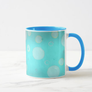 Aqua Floating circles and bubbles mugs