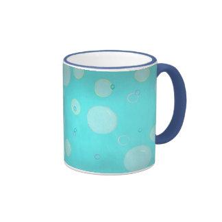 Aqua Floating circles and bubbles mugs