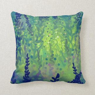 Aqua Flora throw pillow