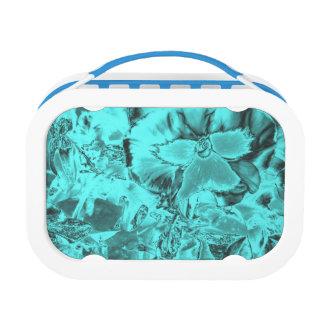 Aqua Floral Design Lunch Box