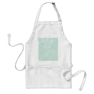 Aqua Floral Design Modern Abstract Flowers Adult Apron