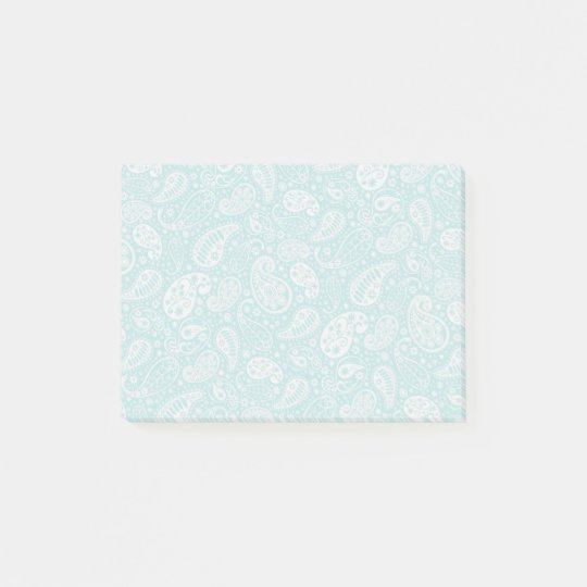 Aqua Floral Paisely Pattern Post-it Notes