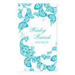 Aqua Floral Paisley Peacock Stylish Chic Elegant Pack Of Standard Business Cards