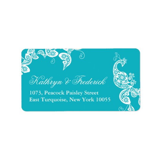 Aqua Floral Paisley Peacock Wedding Address Labels