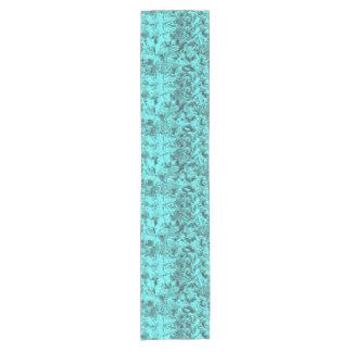 Aqua Floral Print Short Table Runner