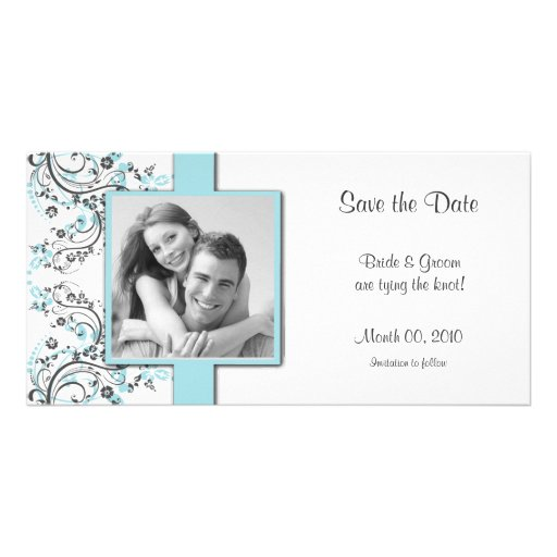 Aqua Floral Save the Date Photo Cards