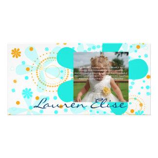 AQUA FLOWER RETRO CUSTOM PHOTO CARD