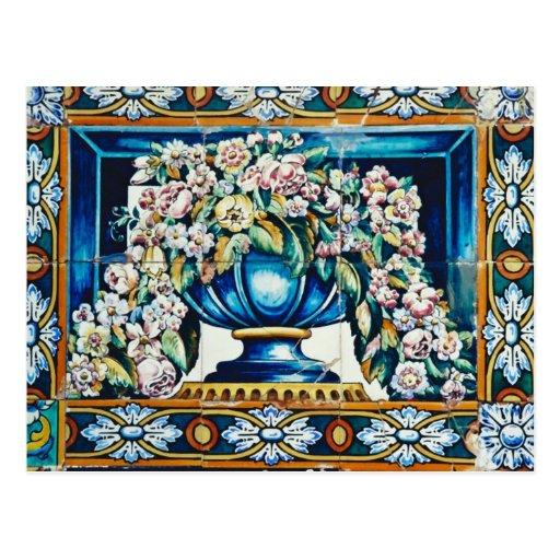 Aqua Flowers in vase, Plaza de Espana, Seville, Sp Post Card