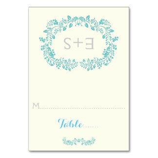 Aqua foliage frame & initials wedding place card table cards