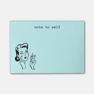Aqua Funny Retro Housewife Note to Self Post-it® Notes