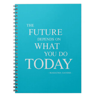 Aqua Future Inspirational Motivational Quote Note Notebook