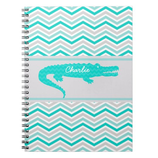 Aqua Gator on Chevron Personalised Notebook